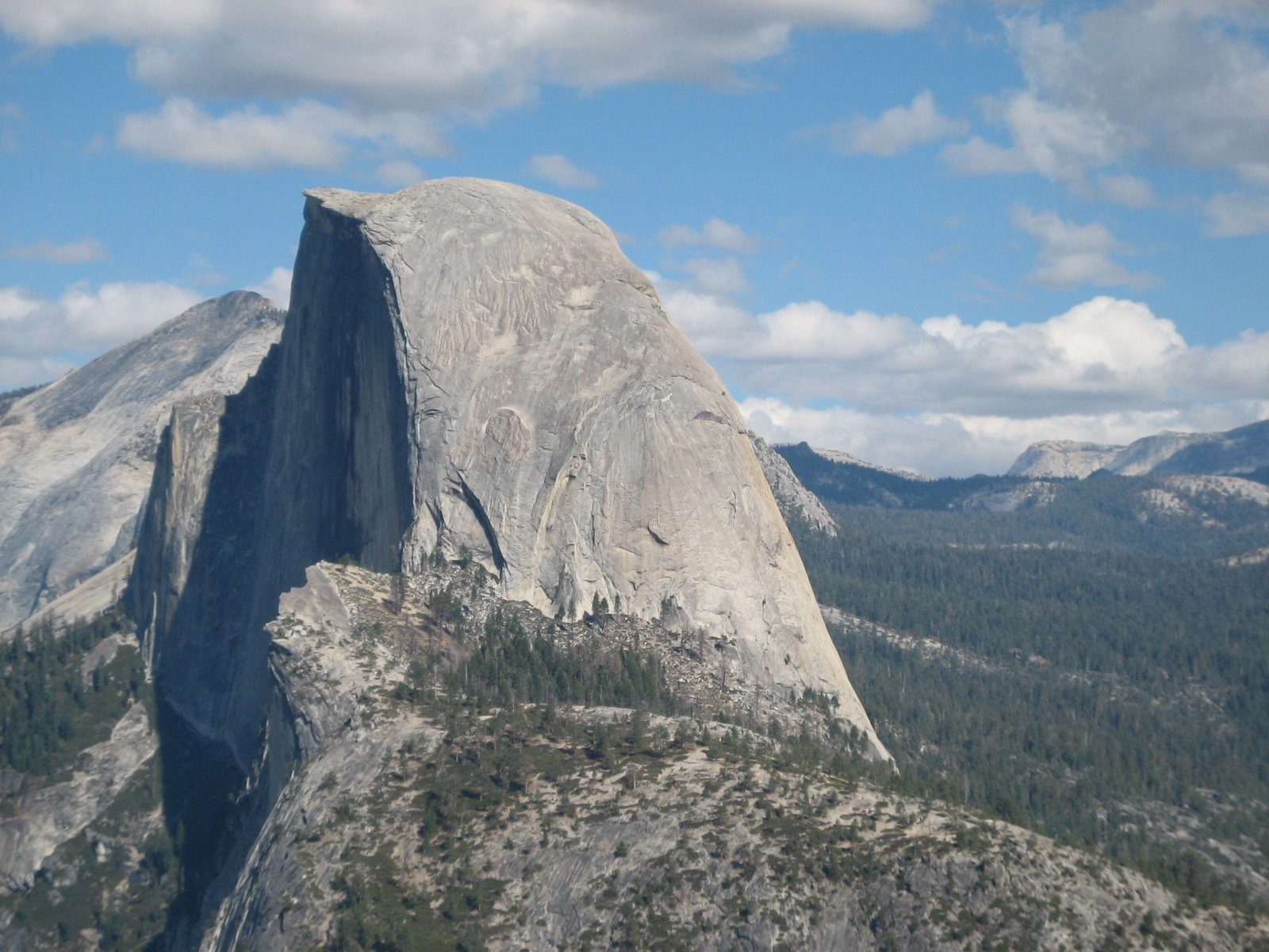 View of Half Dome with Clouds Rest in the background